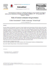 Role of women in disaster risk governance
